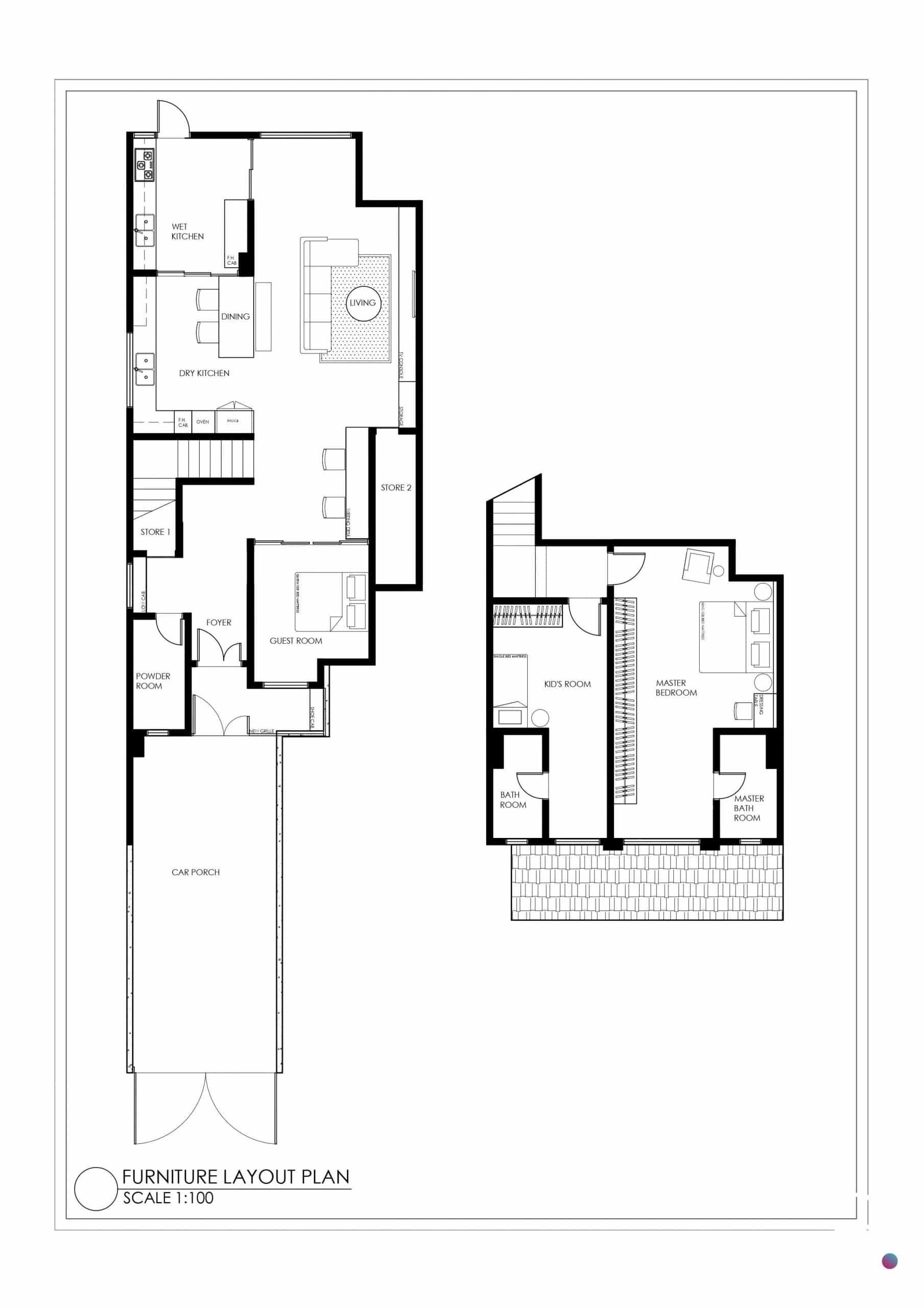 Upper-unit townhouse unit floor plan of Parkville Sunway Damansara townhouse
