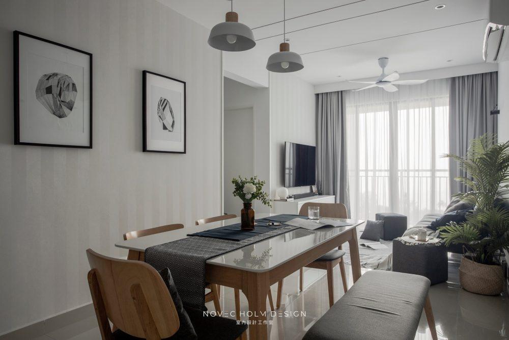 850 sqft Condominium at Iconic Vue, Batu Ferringhi by Novec Holm Design - dining and living room open plan