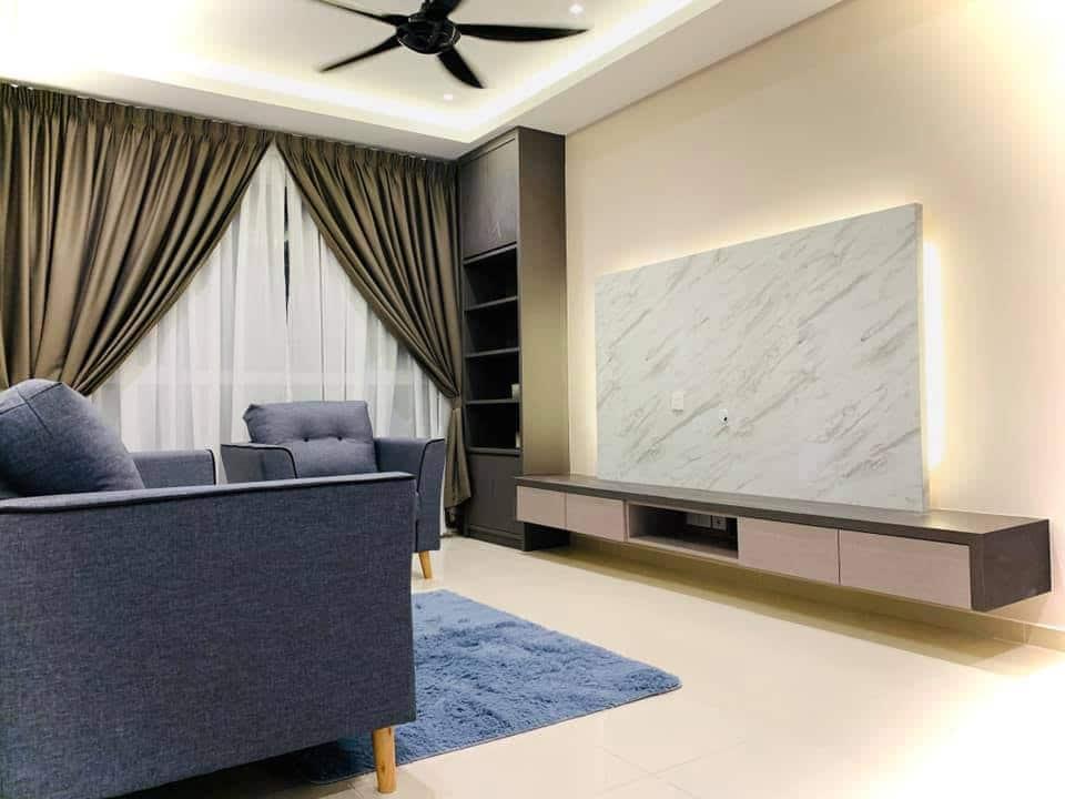 850sqft condo interior design at i-Santorini by Inazumi SEF - living room