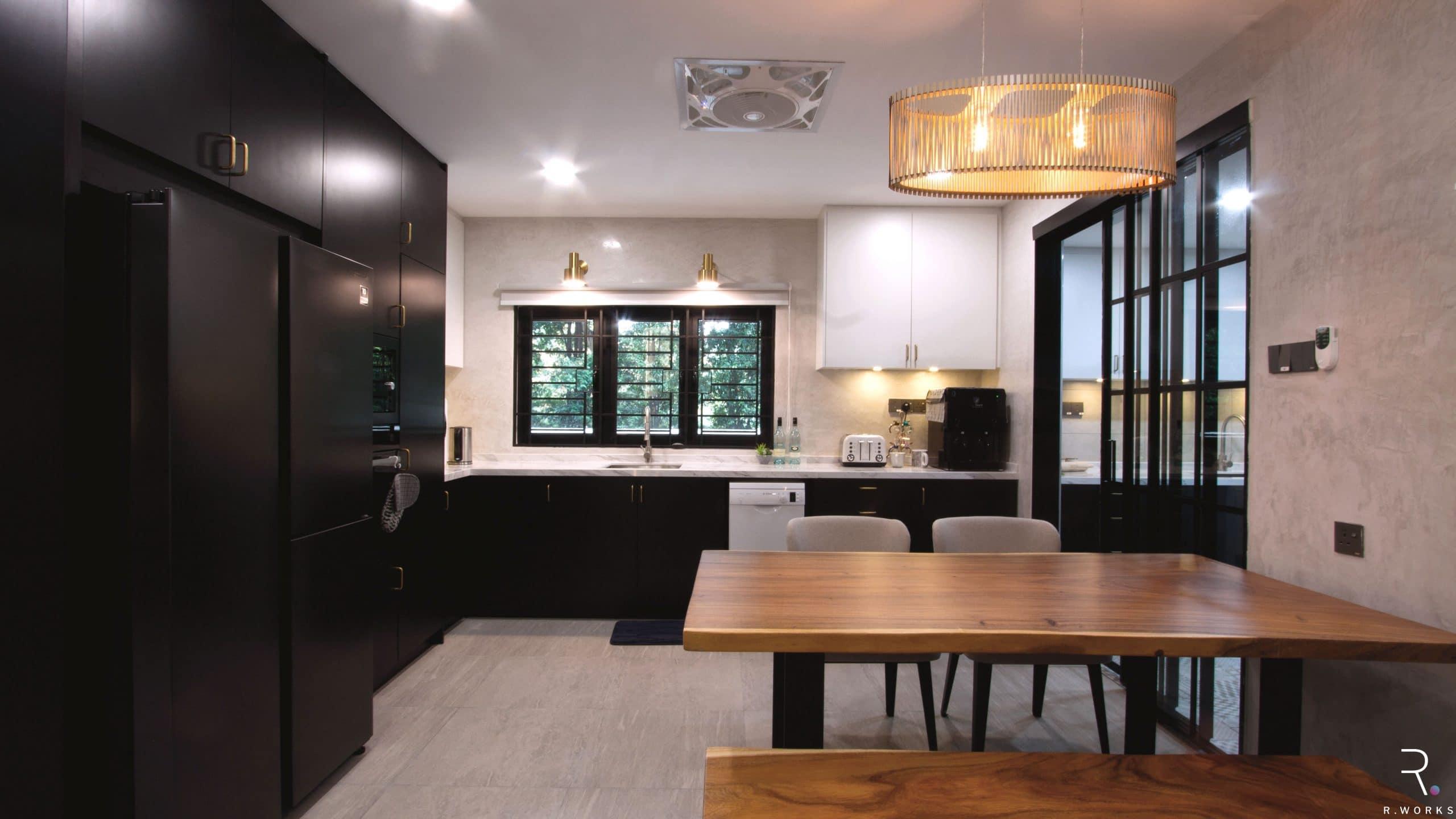 Modern kitchen design for townhouse interior design