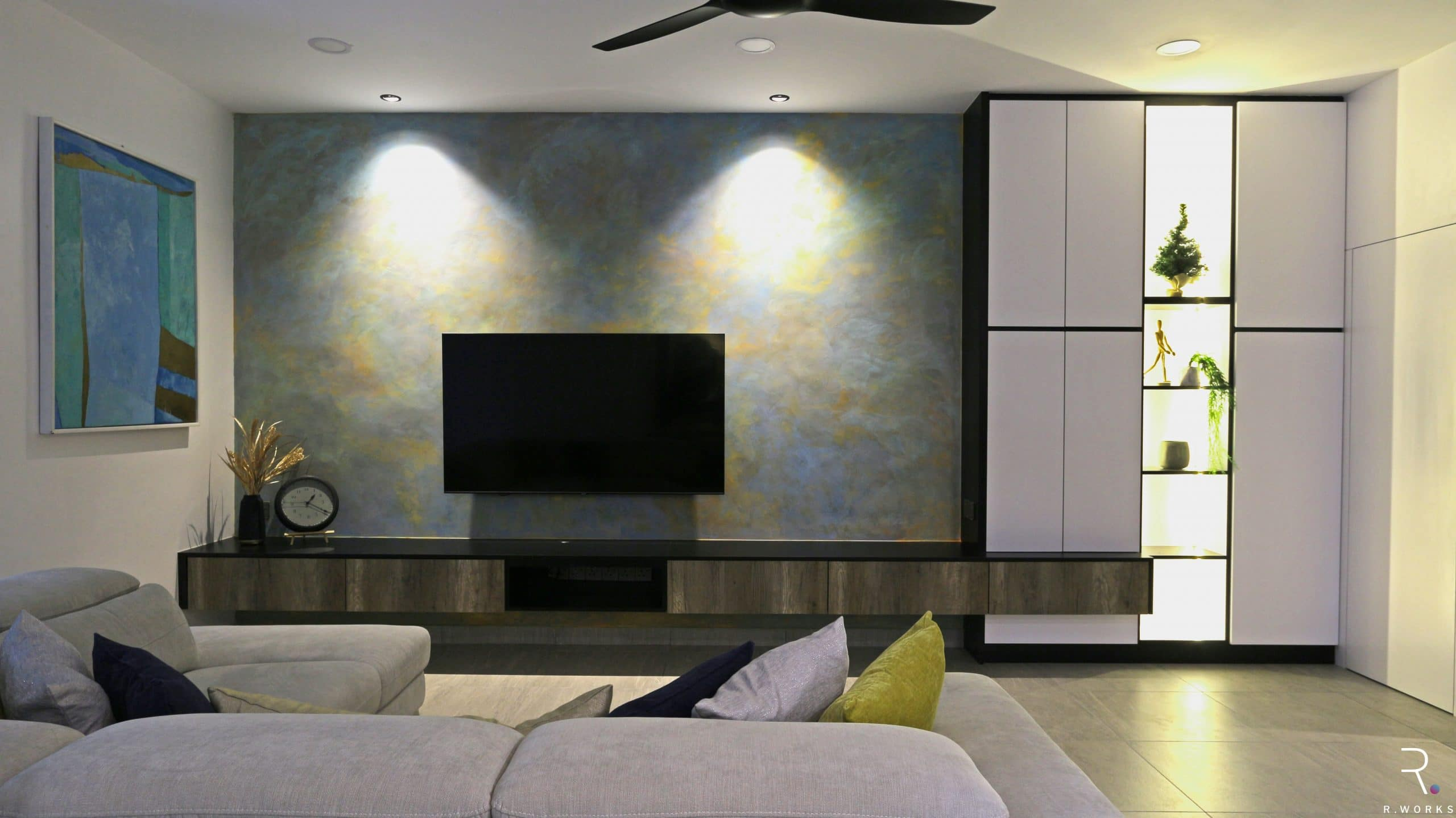 Townhouse living room design after interior design