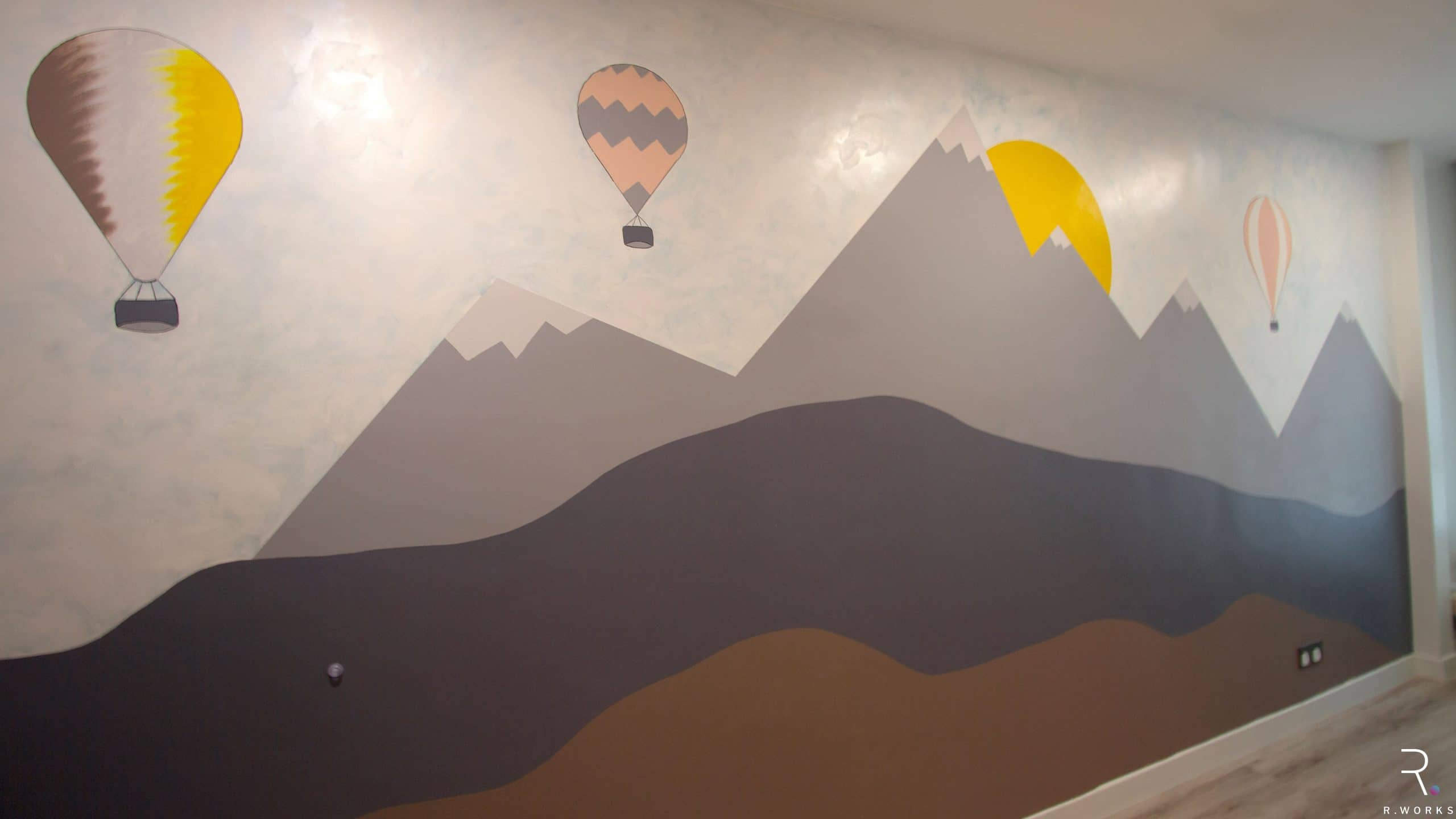 Custom painted mural in kid's bedroom child-friendly townhouse interior design