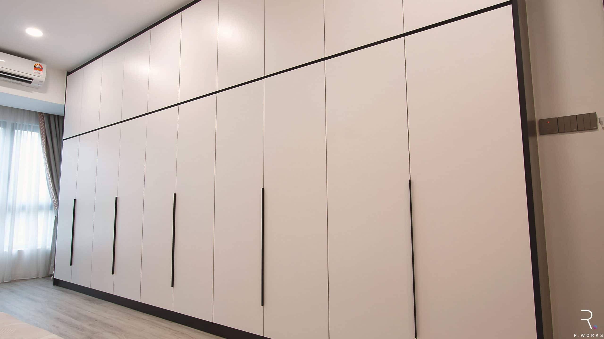 White built-in cabinets for townhouse interior design