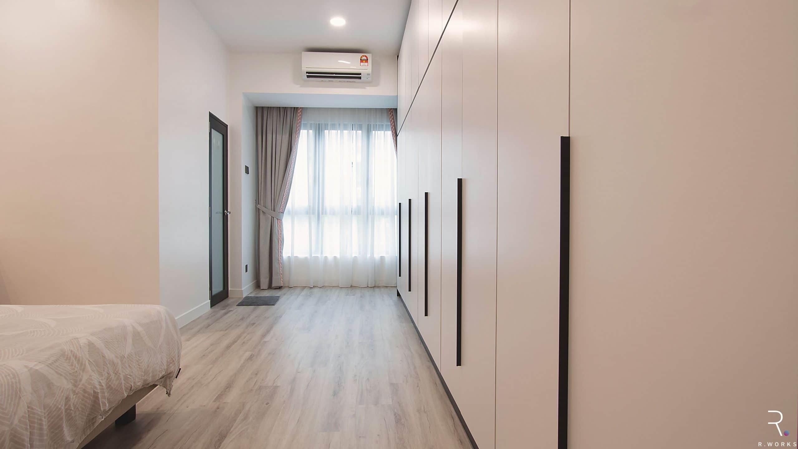 Townhouse modern bedroom after interior design