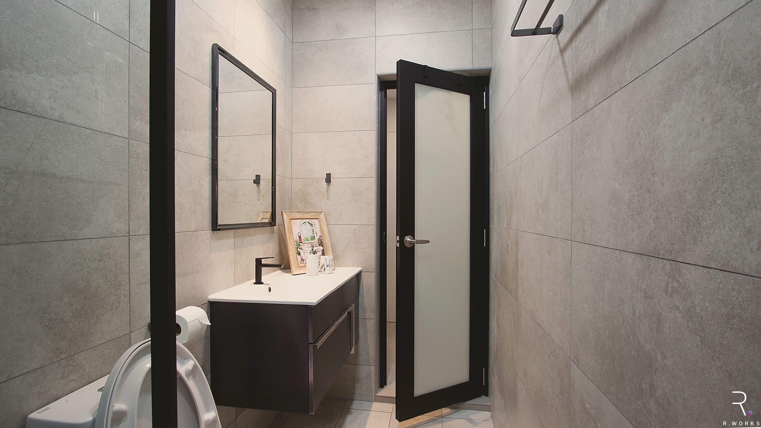 Guest bathroom modern design for townhouse interior design