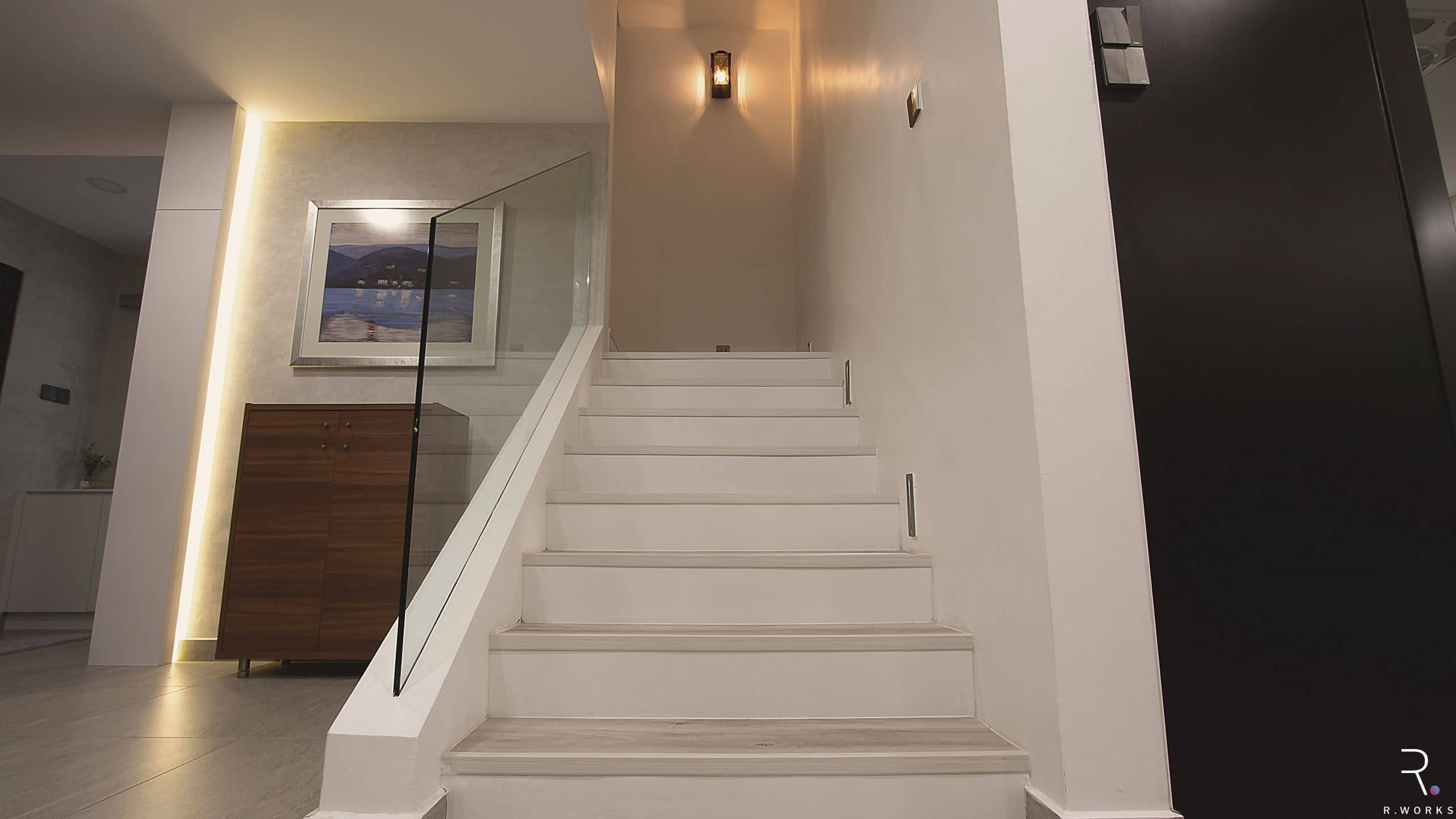 Modern staircase with light colours