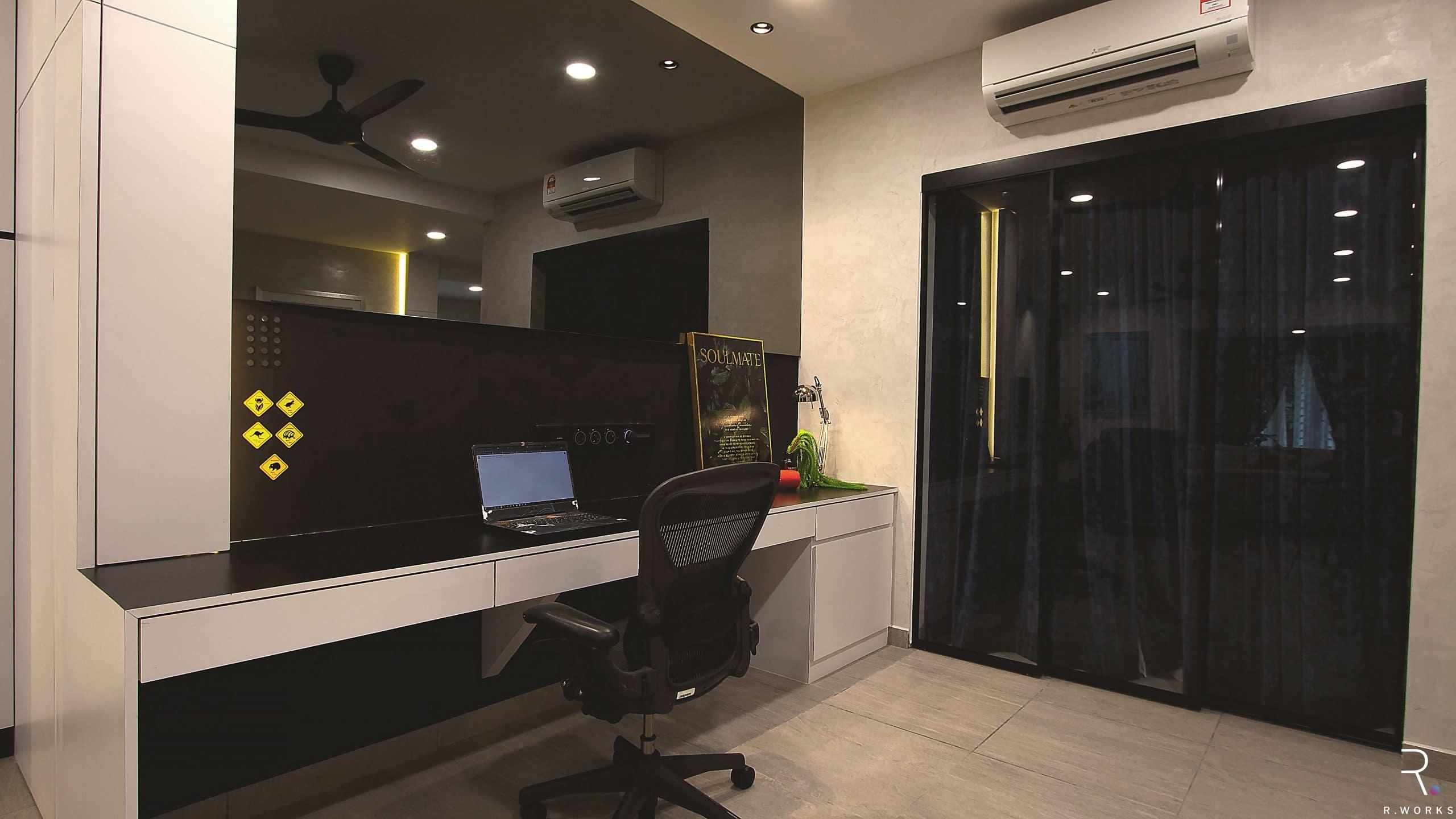 Monochrome study area for townhouse interior design