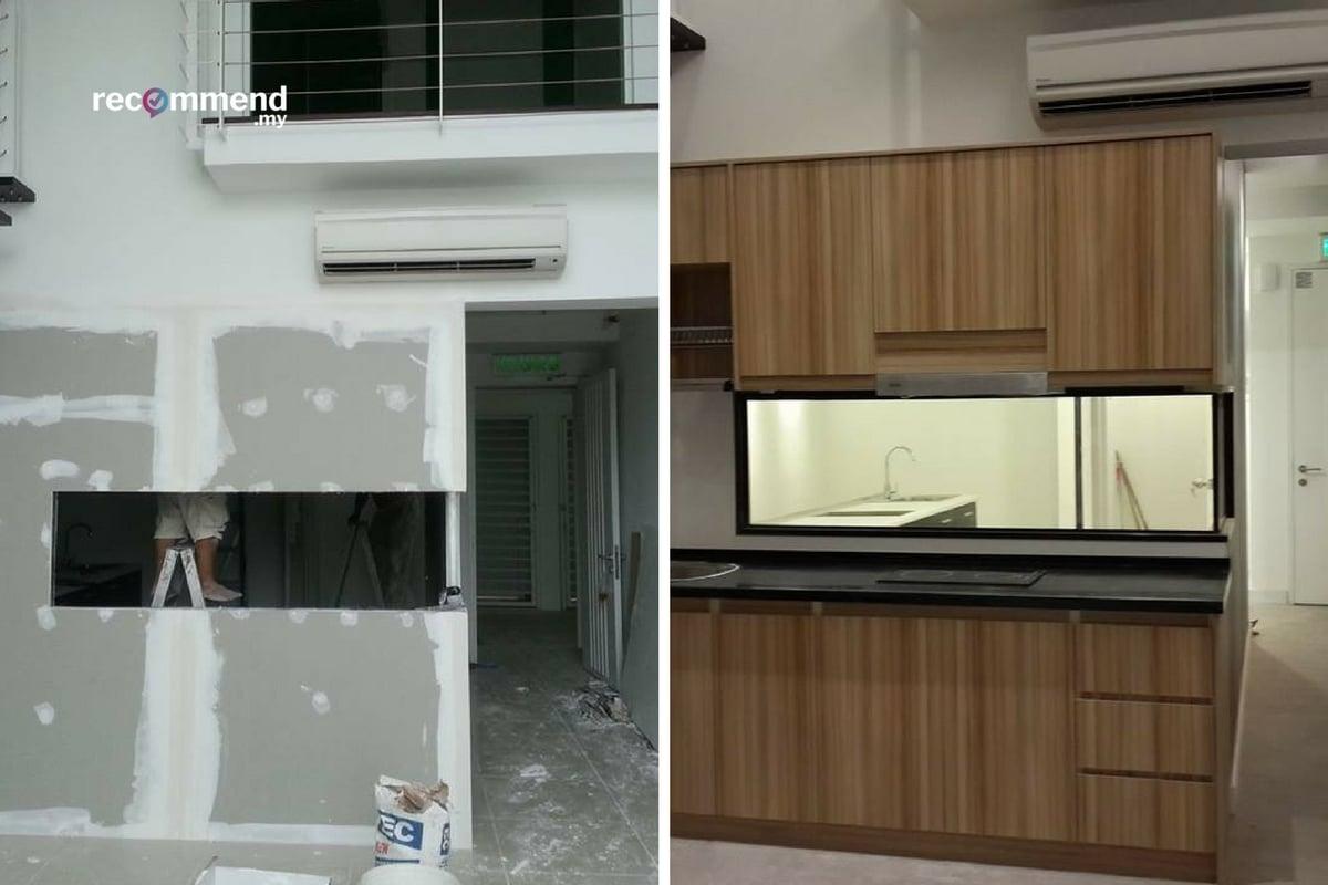 Tingkap penyediaan dapur rumah di Scott Garden, Kuala Lumpur