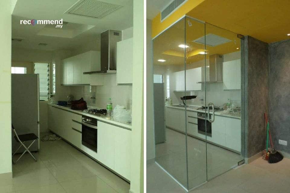 Pintu kaca dapur di Solaris Dutamas