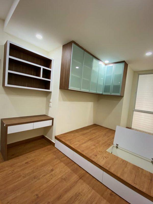 1100 sqft Camellia Park Condominium Design and Renovation by Code Interior Design - bedroom platform bed