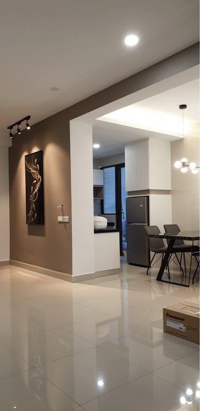 Modern Living in Sky Vista Condo, Penang by Desquared Design dining partition