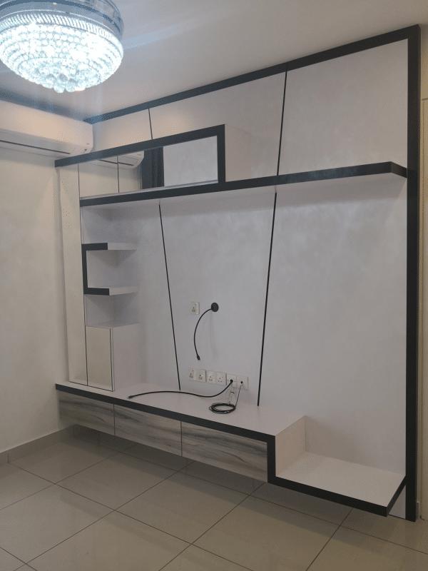 White theme tv console design at Woodsbury Suites, Penang by Ox Interior Design