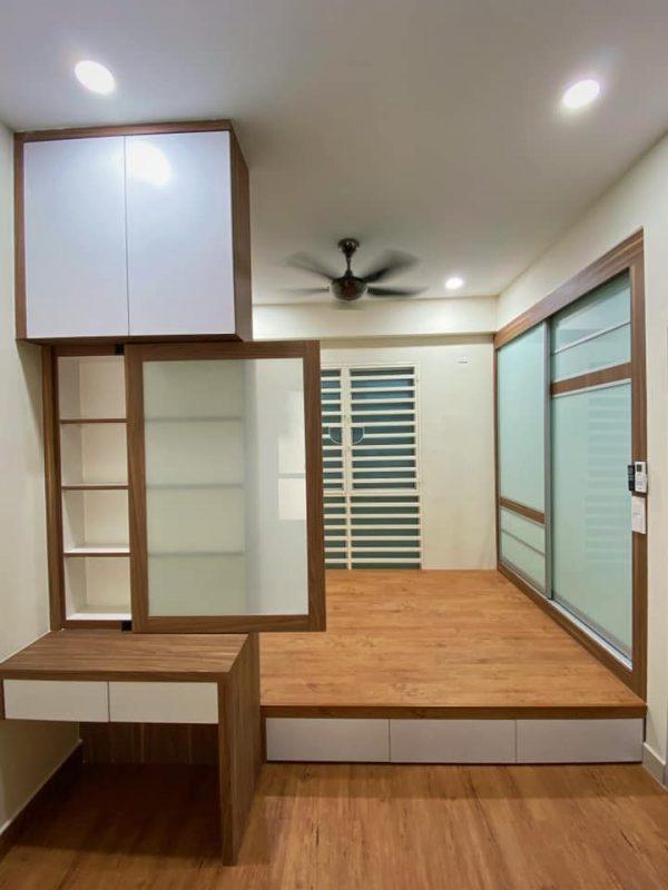 1100 sqft Camellia Park Condominium Design and Renovation by Code Interior Design - bedroom raised platform