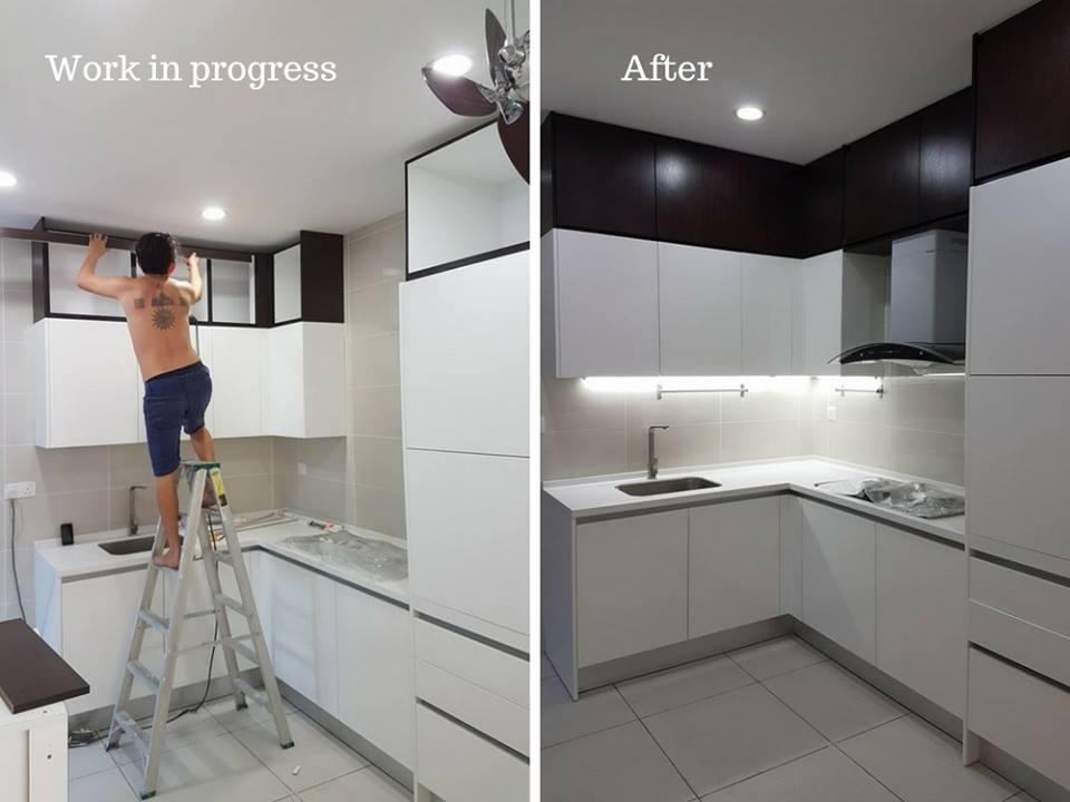 Renovasi kabinet dapur modern di Puchong