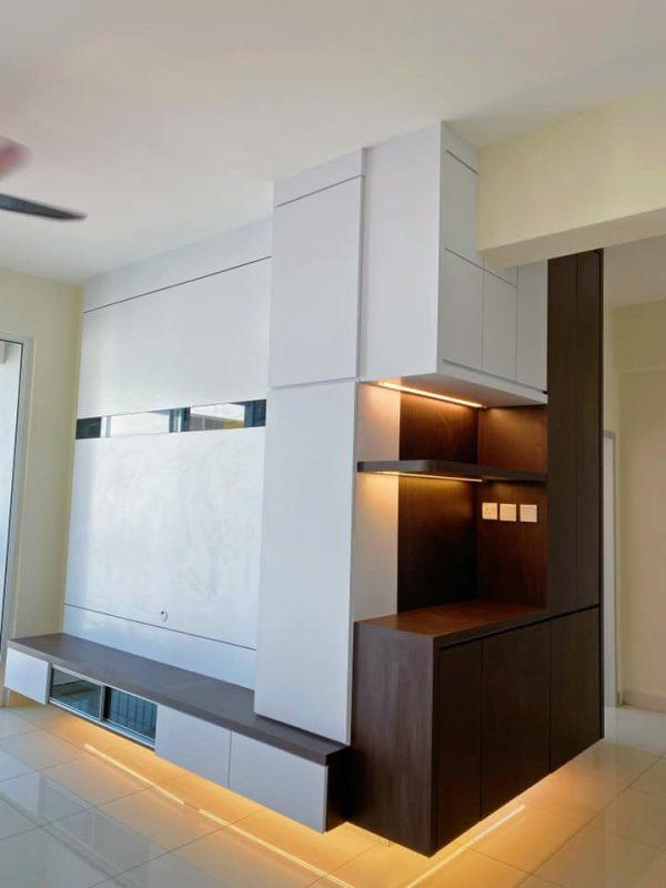 1100 sqft Camellia Park Condominium Design and Renovation by Code Interior Design - tv console cabinet