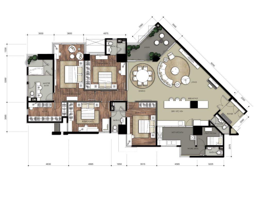 Pelan lantai untuk unit rumah di 9 Bukit Utama (2,668 sqft)