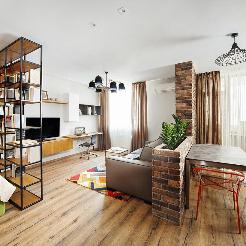 Low brick wall room divider