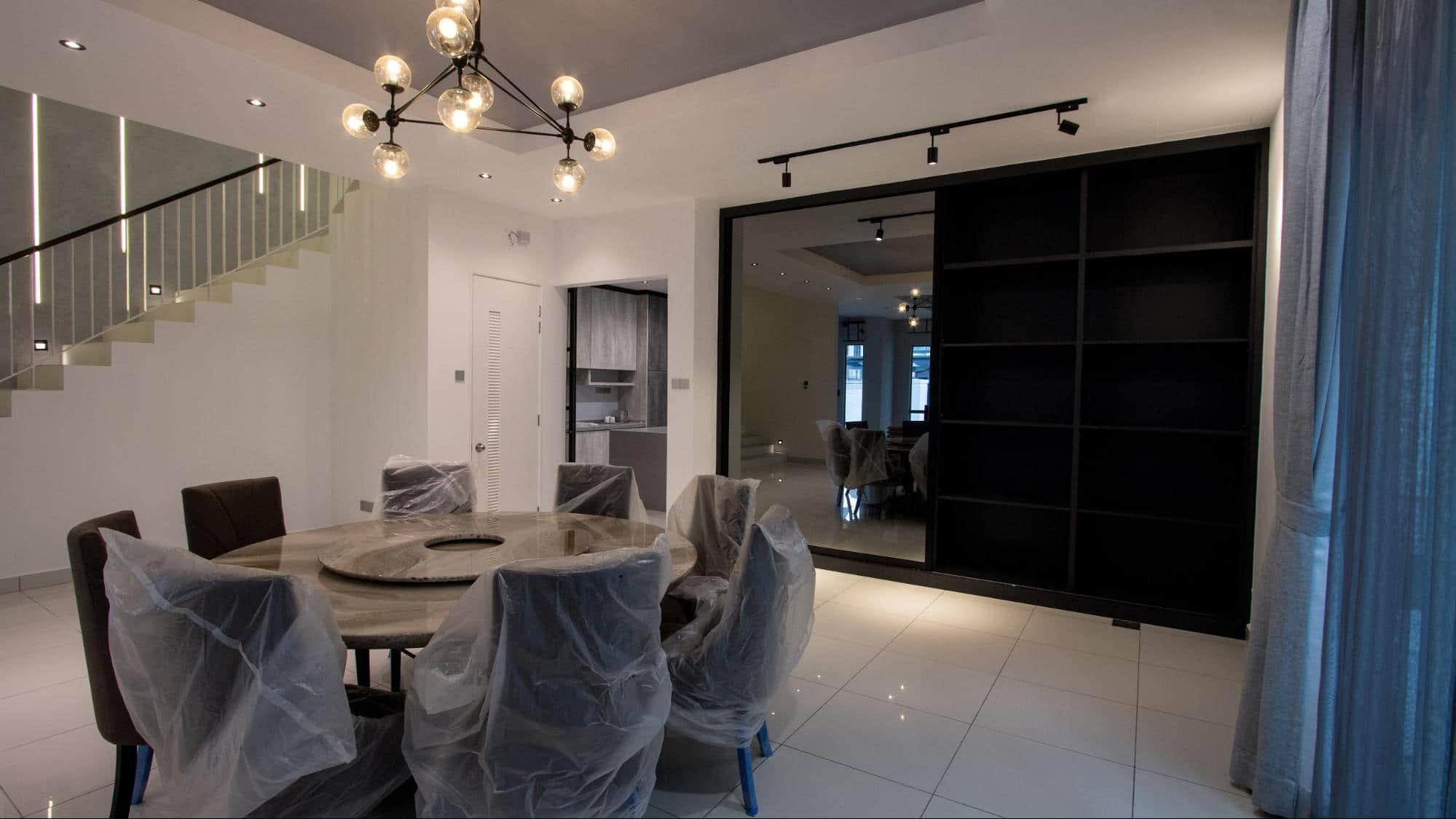 Black grey mirror cabinets in modern industrial design