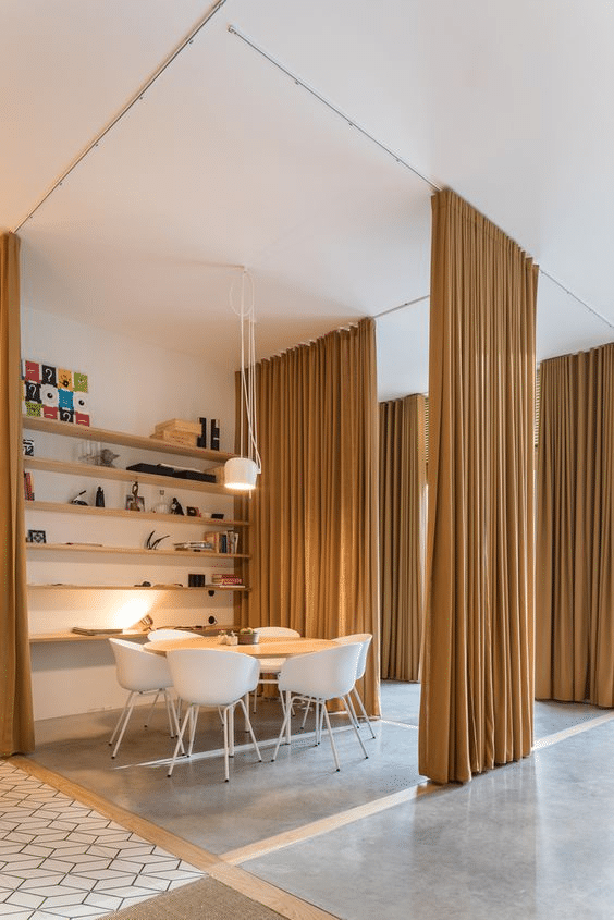 Curtain room partition