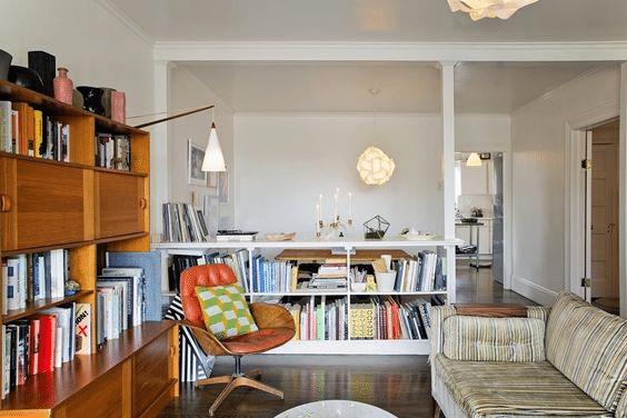 Low bookshelf minimalist room divider