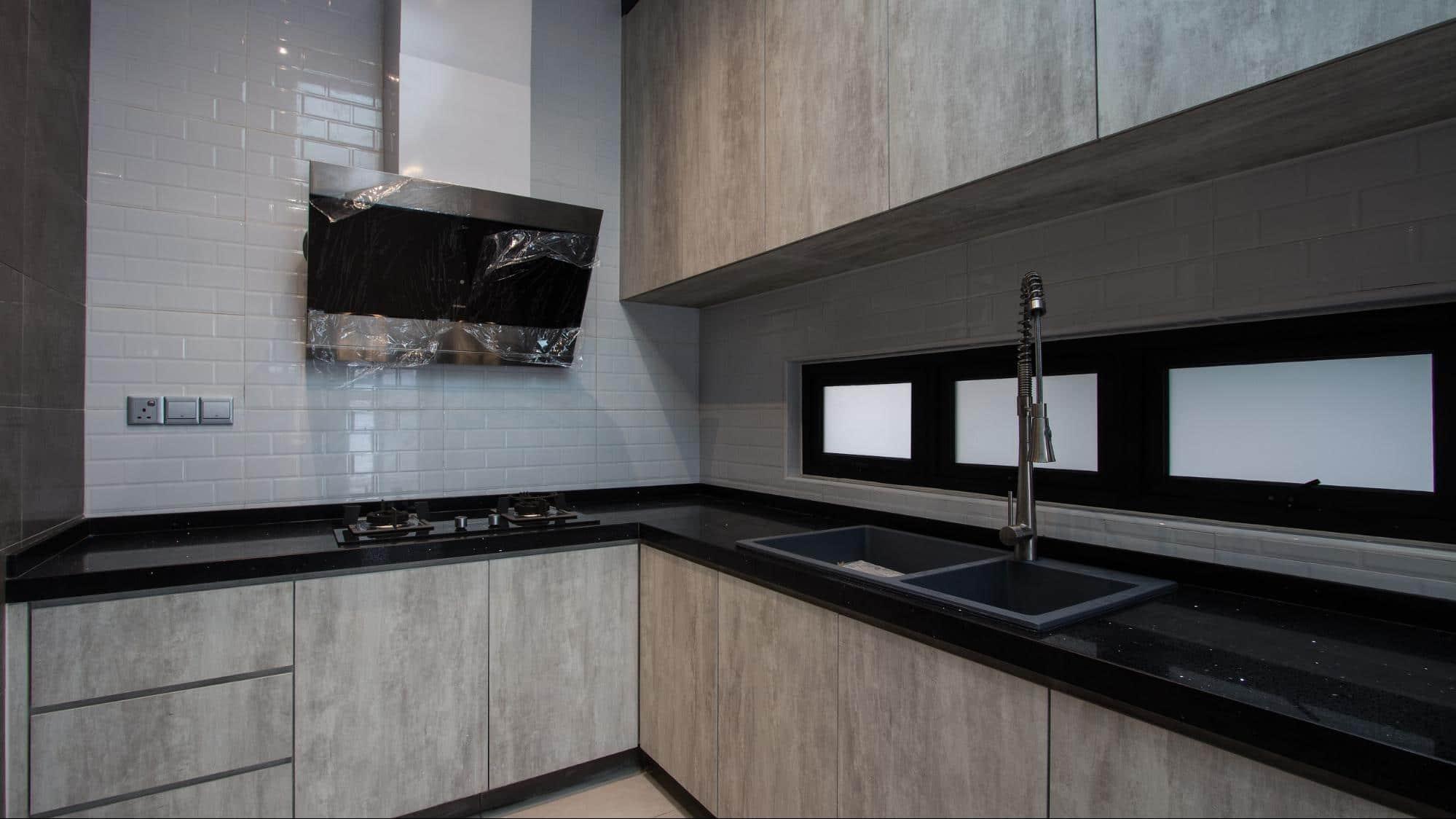Grey laminate cabinetry modern industrial design
