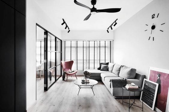 Black industrial glass sliding door room partition