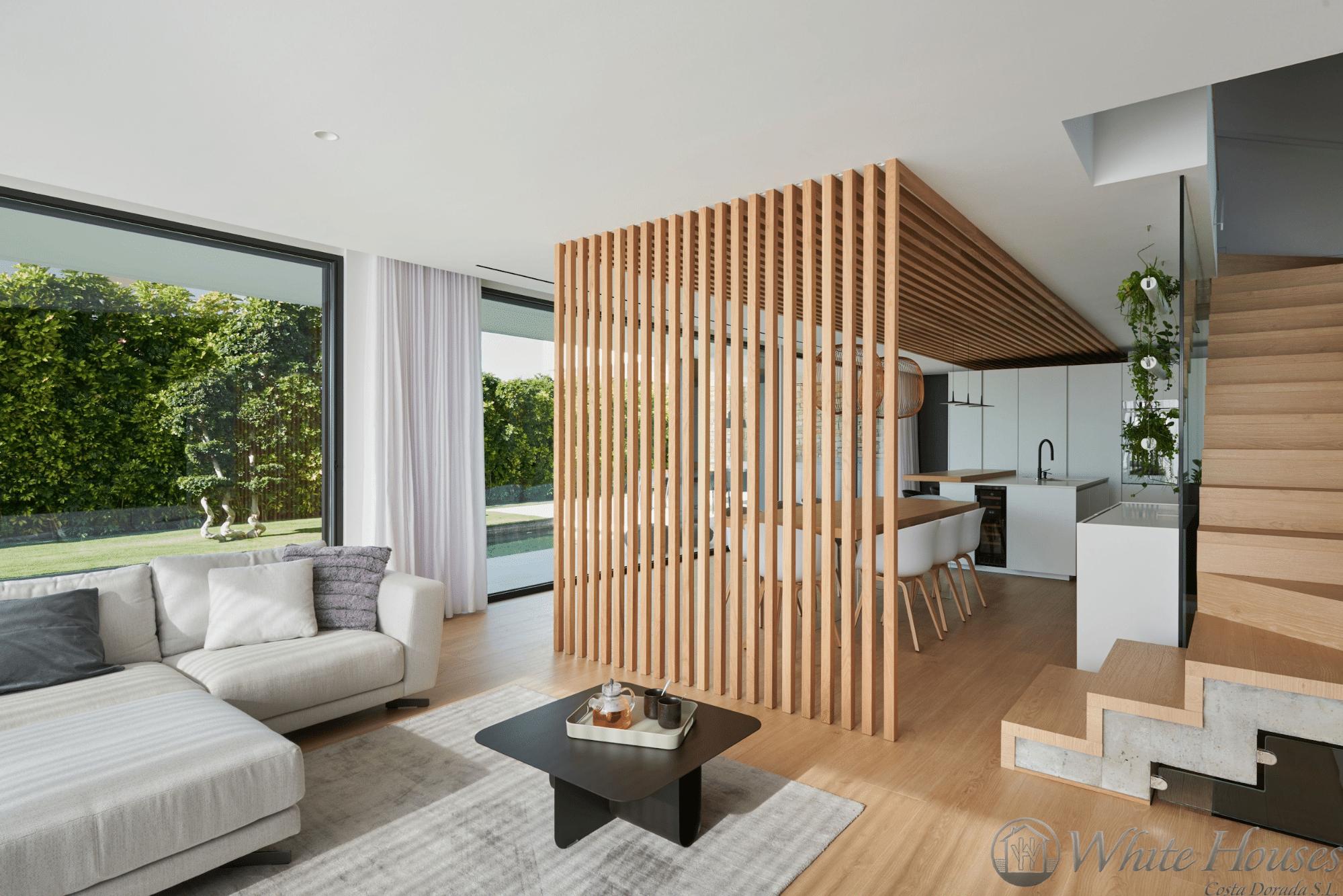 Wooden slats minimalist room divider