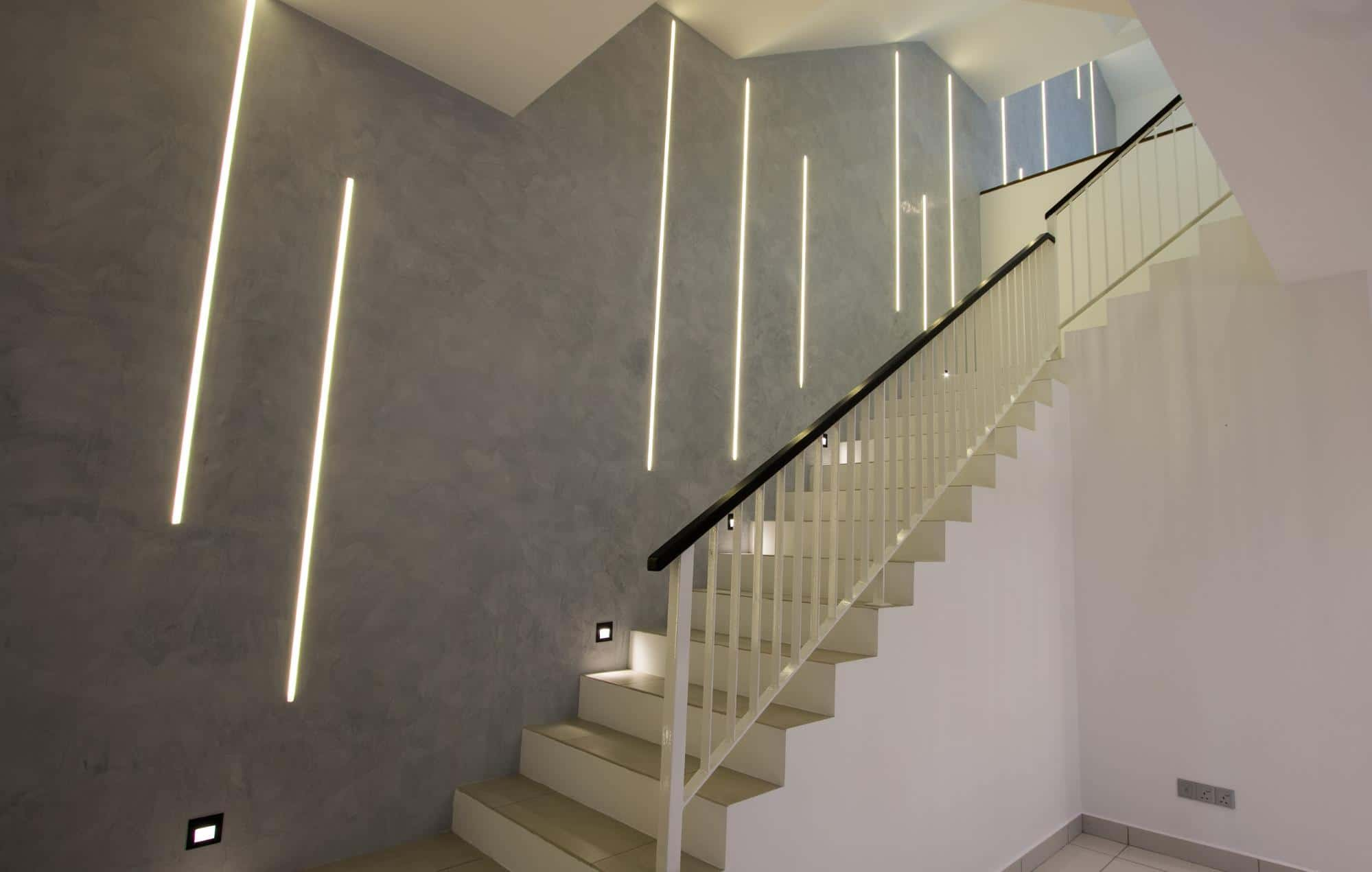 Modern industrial stairway feature wall with LED strip lights
