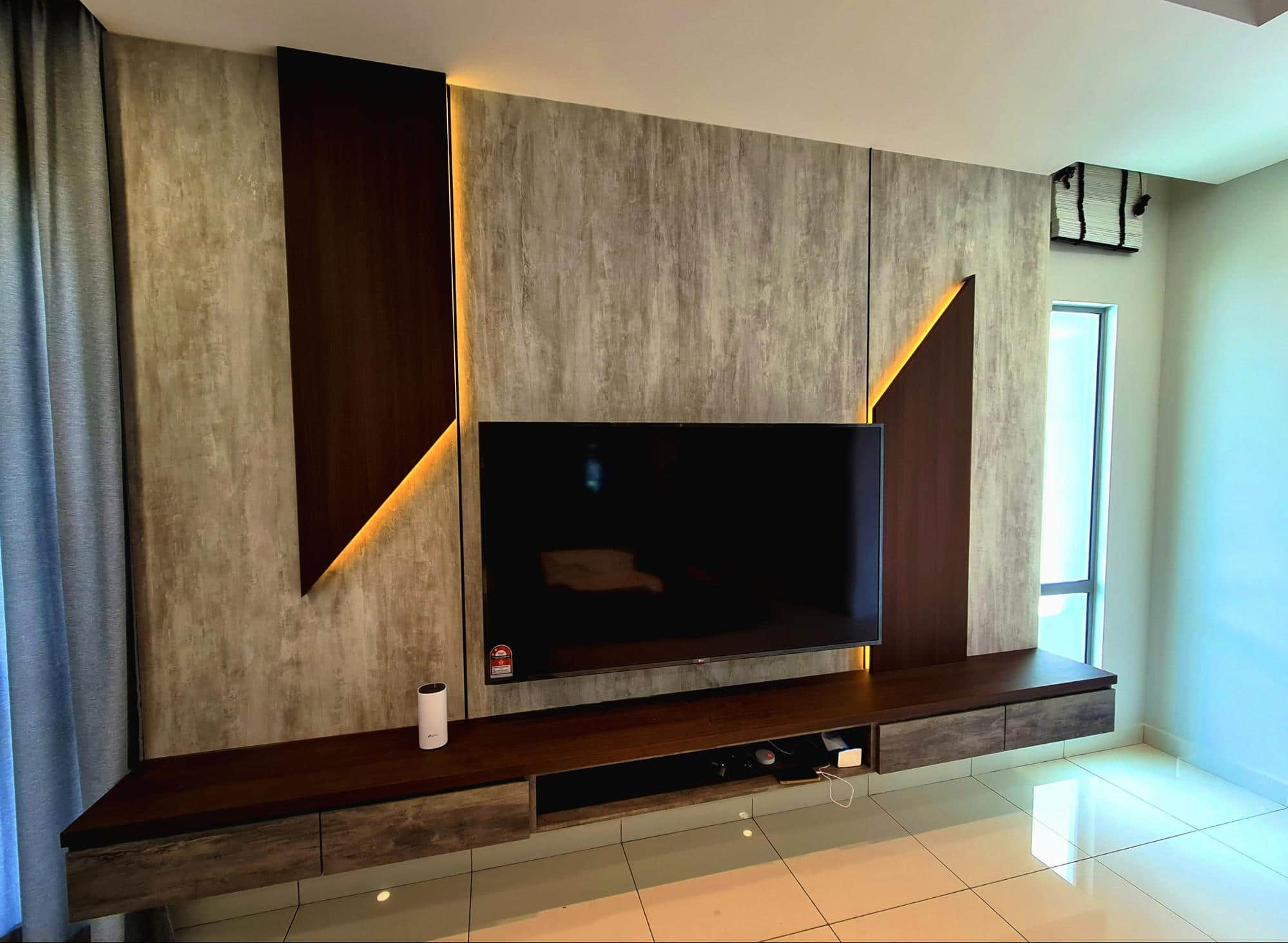 Modern industrial TV console