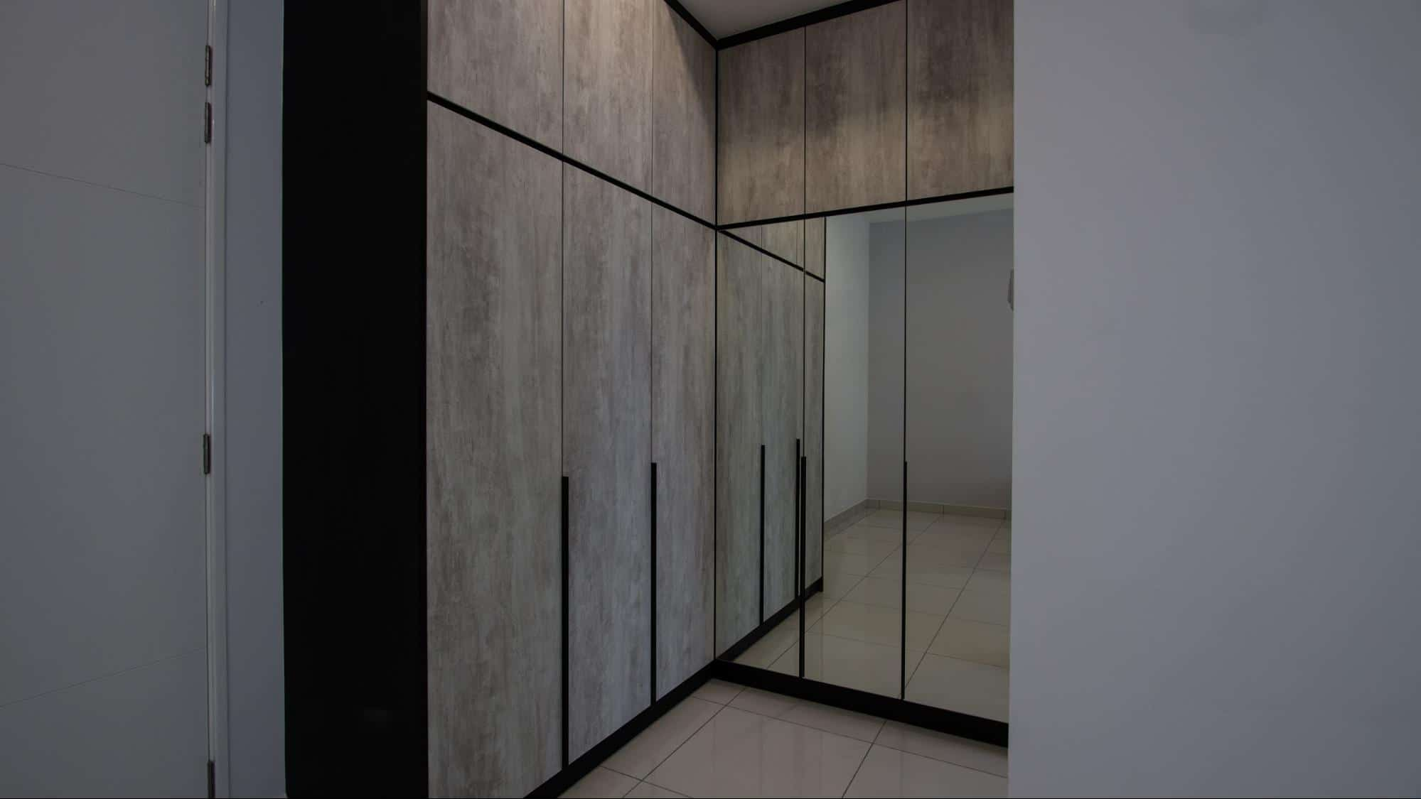 Built-in cabinetry with full length mirrors