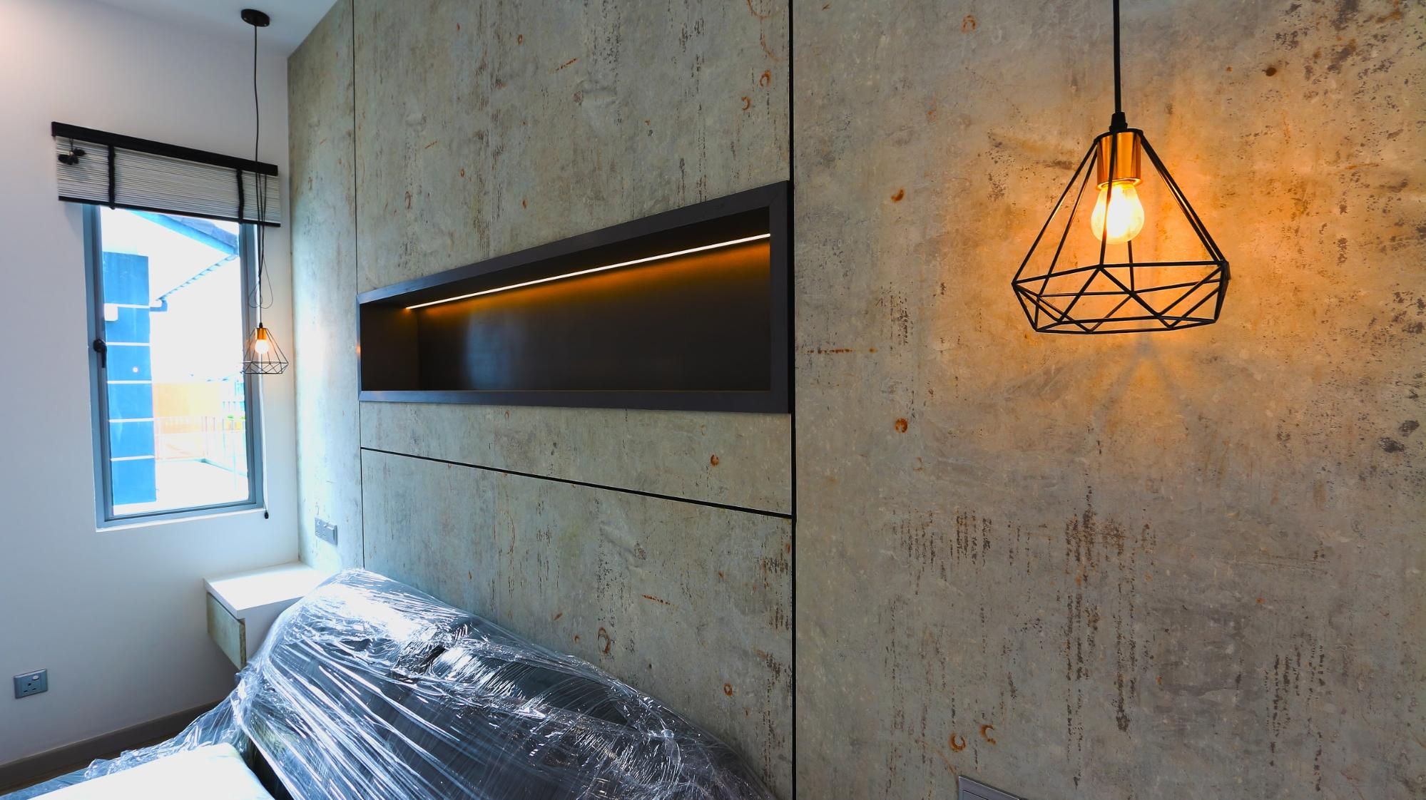 Modern industrial cement textured feature wall