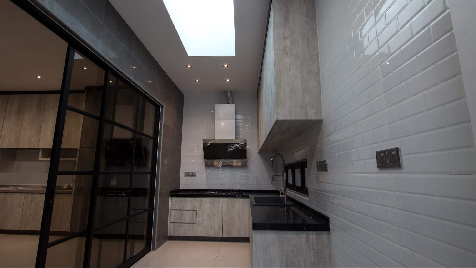 Modern industrial wet kitchen with soft white lighting