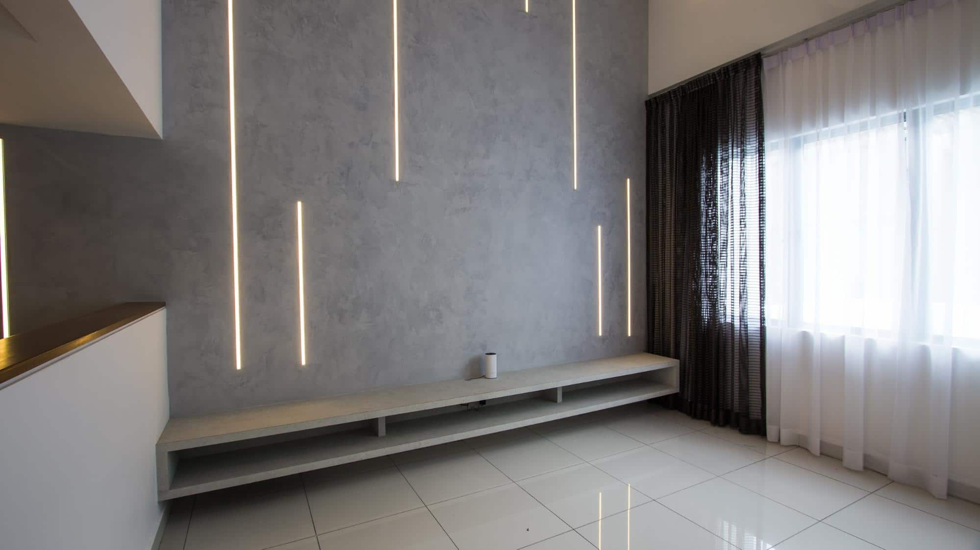 First floor foyer feature wall modern industrial
