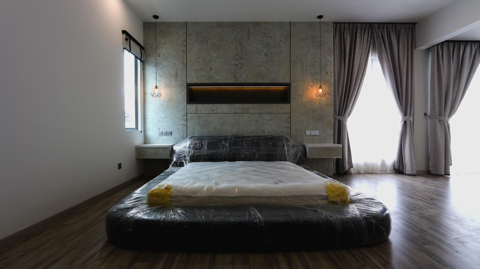 Master bedroom bed and feature wall in modern industrial design