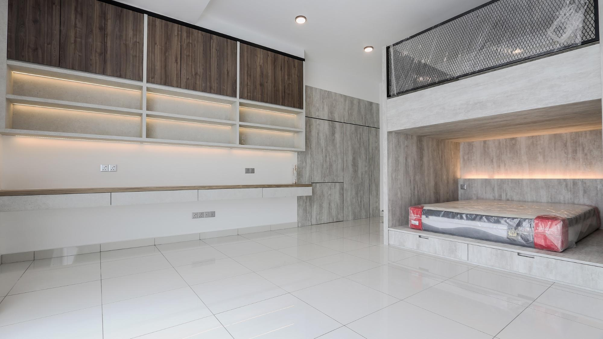 Modern industrial bedroom in soft neutral tones