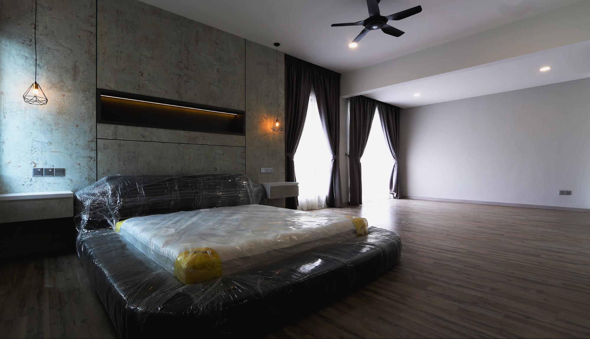 Master bedroom in modern industrial design