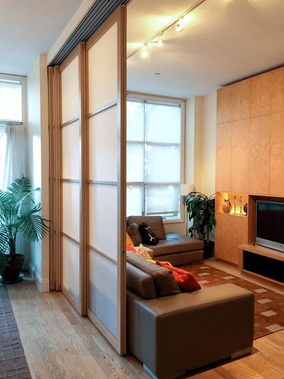 Muji-inspired retractable sliding door partition