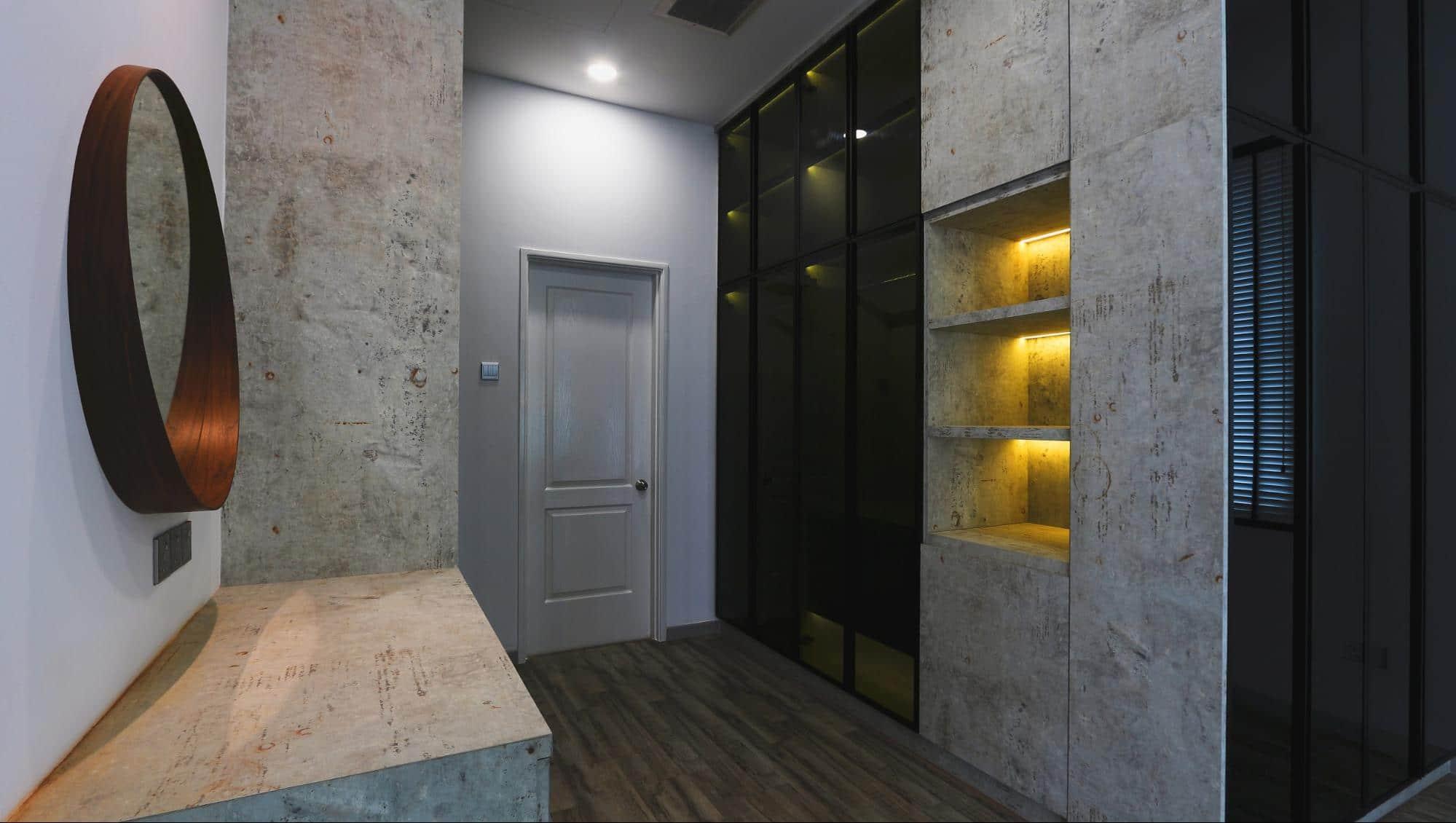 Grey mirror wardrobes in modern industrial design