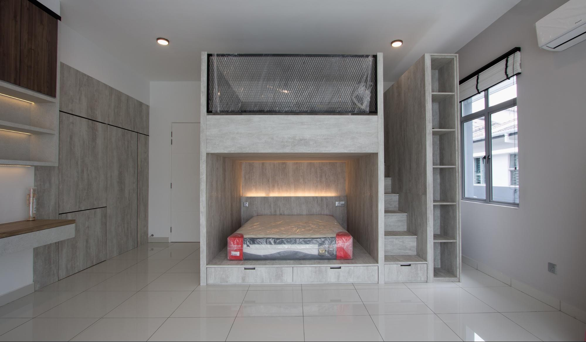 Custom made double-decker bed in grey laminates and built-in storage