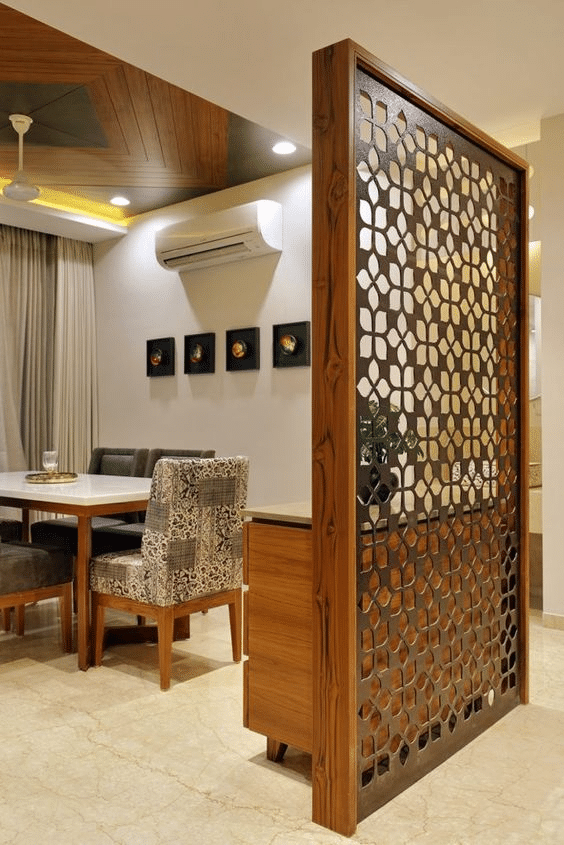 Floor to ceiling traditional floral pattern wooden room partition