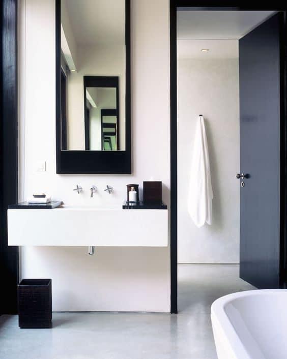 Minimalist black and white bathroom