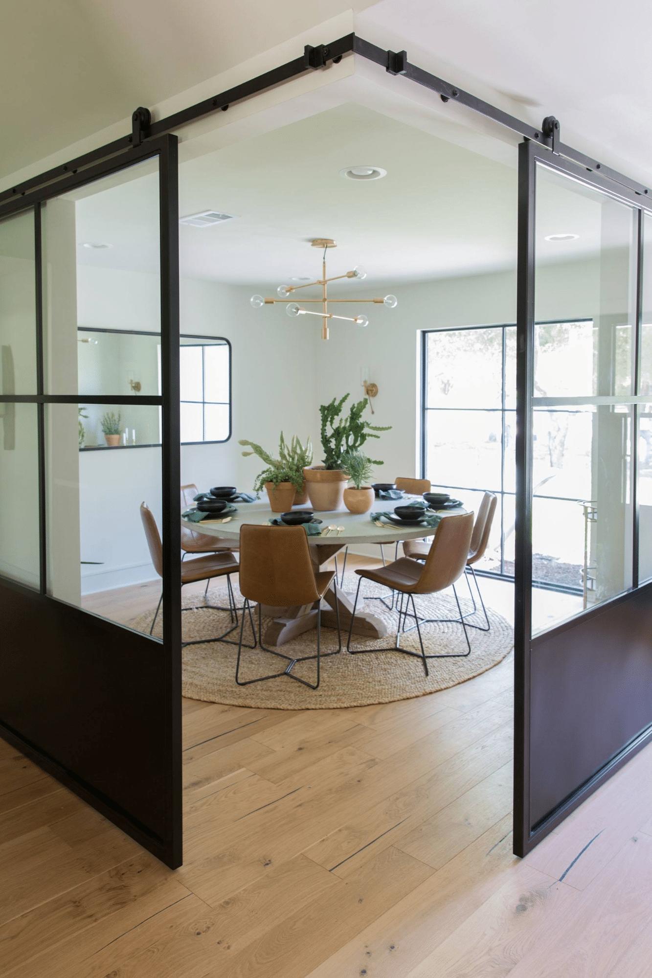 Industrial glass partition black sliding door divider