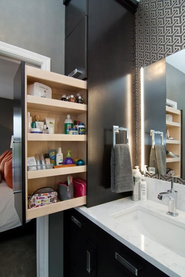 Pull out storage cabinet next to the sink