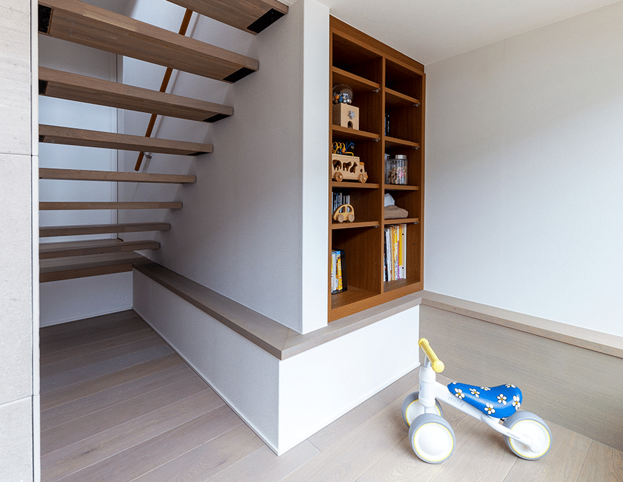 Muji inspired interior design with living room storage shelves