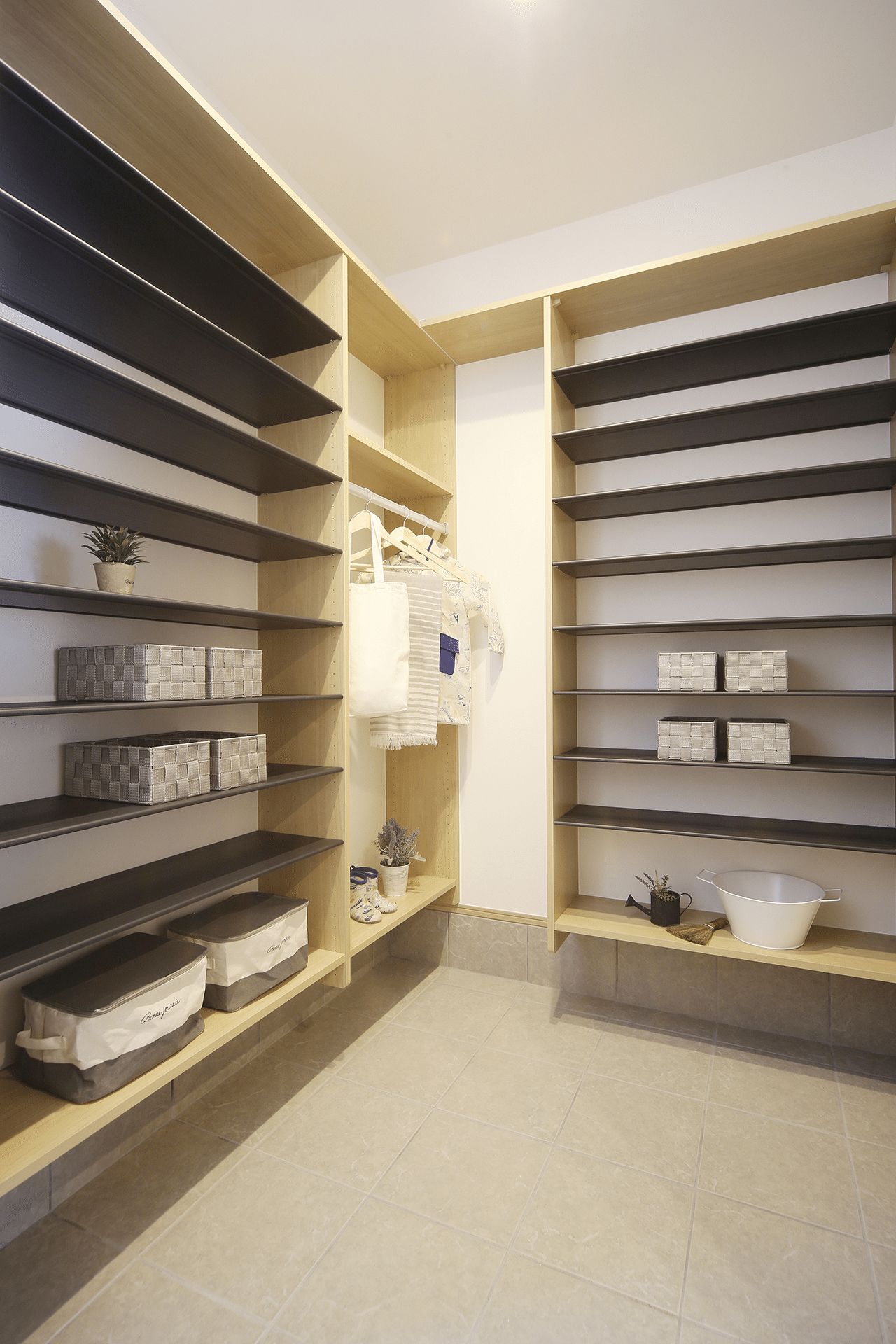 Muji inspired interior design with neutral toned wall shelves