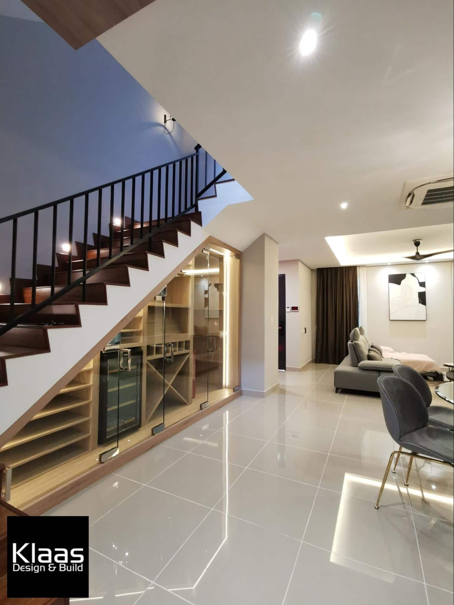 Custom-made wine cellar under staircase