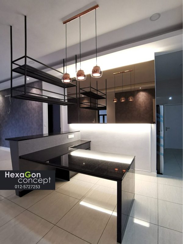 industrial suspended kitchen cabinet by hexagon concept