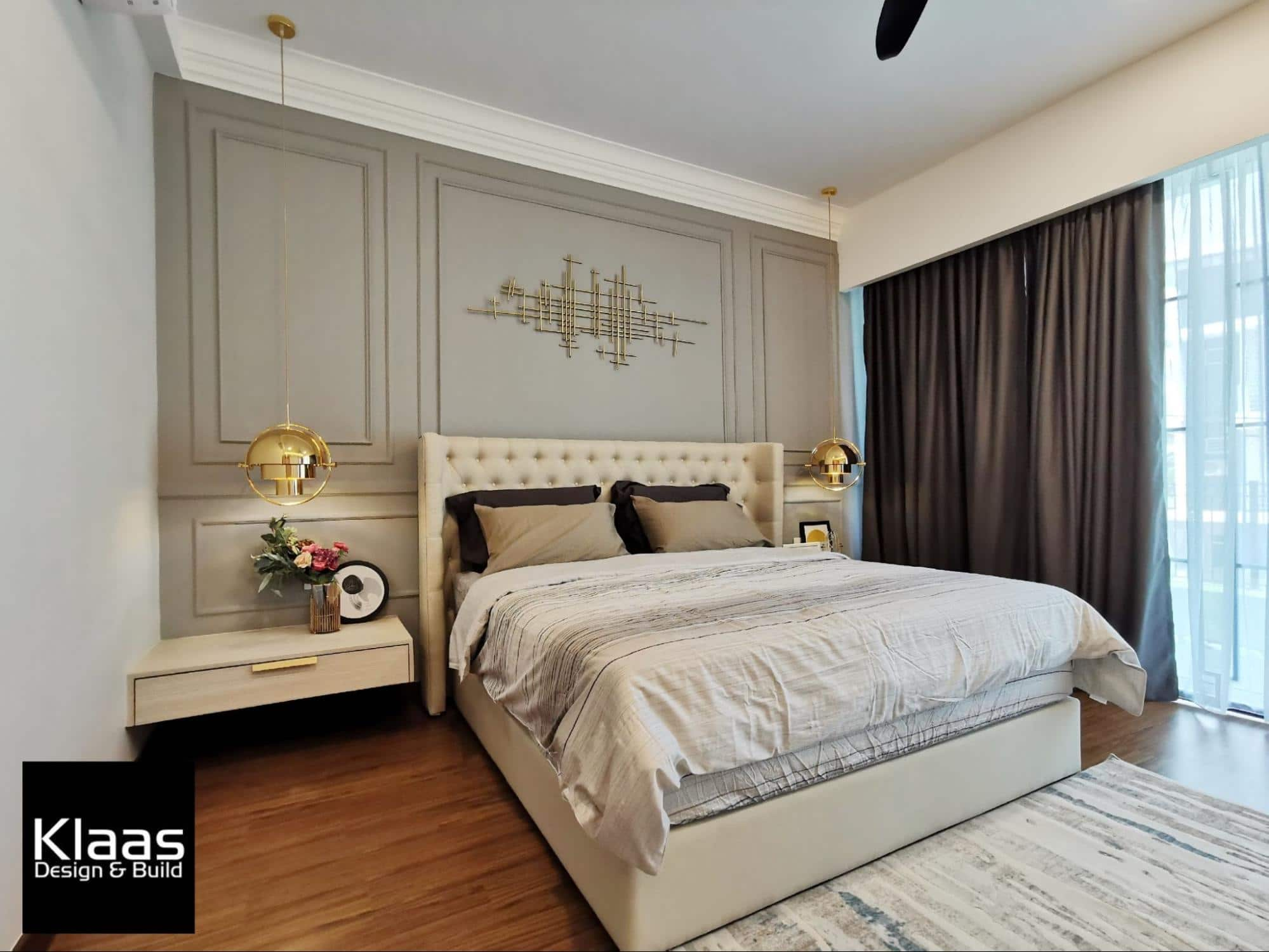 Modern classical bedroom bedhead feature wall