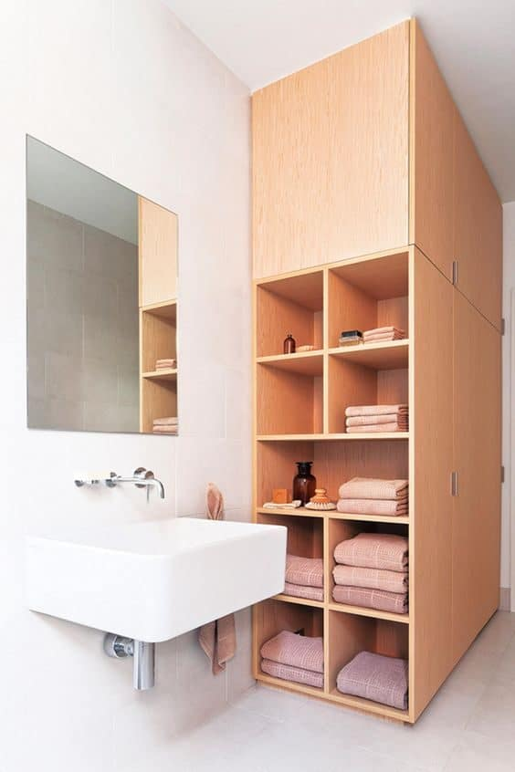 Multi-layer bathroom shelf with built in cabinet