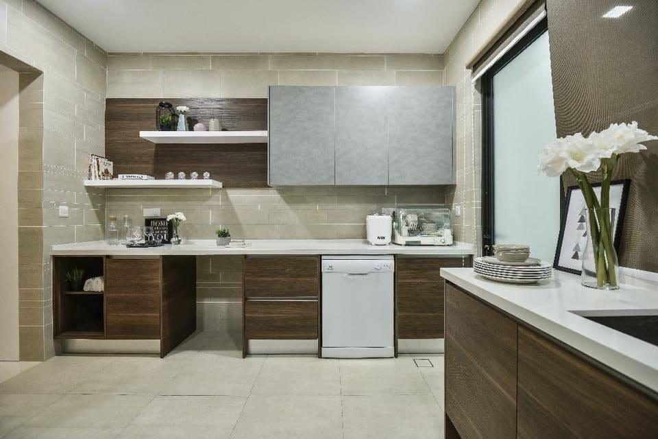 Neutral toned modern kitchen terrace home design